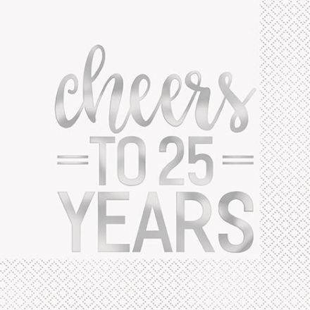 16 'cheers to 25 years' 25th Anniversary Napkins